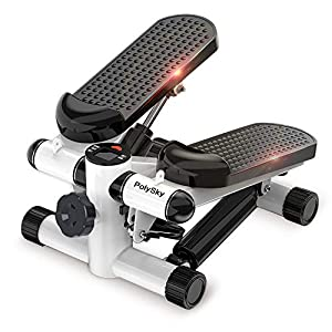 Merpin Stepper Hometrainer Stepper, Stepper up-Down Swing Stepper con Resistencia Ajustable y computadora de Entrenamiento inalámbrica, Máquina de Step Mini Stepper con Pantalla Multifuncional(Negro)
