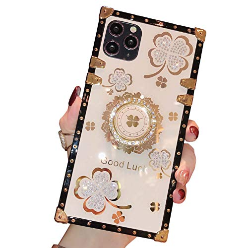 Yesun K para iPhone 11 12 Pro Max Bling Clover Ring Holder Square Silicone Phone Case para niñas y mujeres (blanco lechoso, iPhone 11 Pro Max 6.5'')