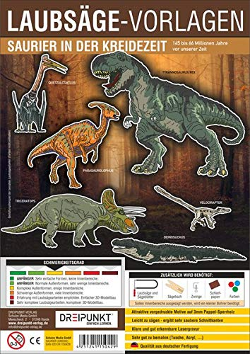 Laubsägevorlage Saurier in der Kreidezeit: Laubsägevorlage für sechs spannende Dinosaurier aus hochwertigem 3mm Pappelsperrholz.
