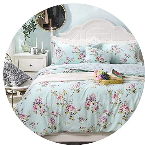 FADFAY Dorm Bedding 5-Pcs Bed in a Beg Set Twin XL Target Shabby Bedding Blue Green Hydrangea Floral 100% Cotton Hypoallergenic, Twin XL 5-Pieces for College Room