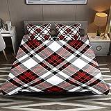 Juego de funda de edredón de microfibra de fácil cuidado con fundas de almohada con cremallera, color rojo, blanco y negro