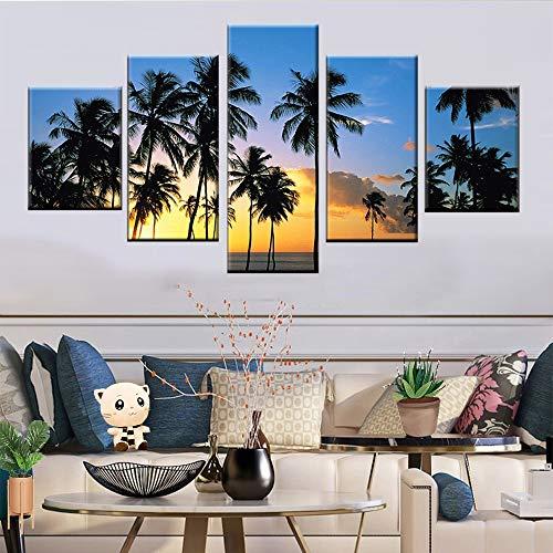 KWzEQ 5 Panel Sonnenuntergang Kalifornien Strand Palme Poster Moderne Wohnzimmer Wohnkultur Leinwand,Rahmenlose Malerei,20x35cmx2, 20x45cmx2, 20x55cmx1
