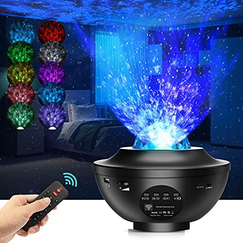 LED Sternenhimmel Projektor, Airabc Sterne Lampe Galaxy Light Kinder Nachtlicht mit Fernbedienung/Bluetooth Lautsprecher/Timer, Starry Stern/Wasserwellen-Welleneffekt, für Zimmer Geburtstagsfeier