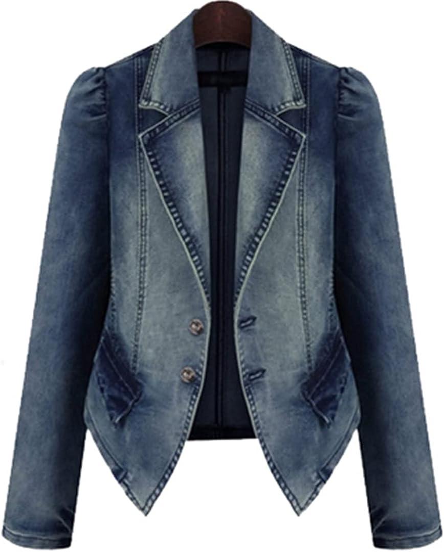 Spring Women's Denim Blazers Jeans Coat Slim Bomber Jacket Suit Turn Down Collar Jacket