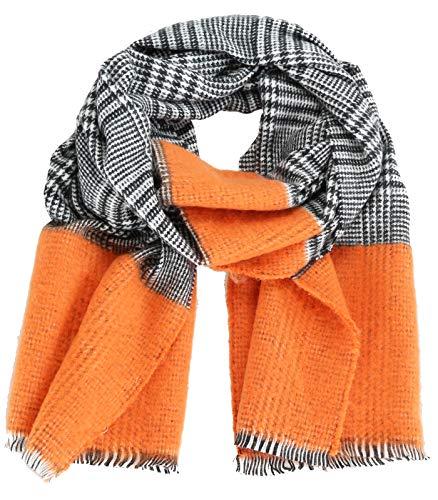 Caripe Winterschal Damen XXL Schal Glencheck Karo warm groß Stola Strickschal – 1902-4WJ (orange)