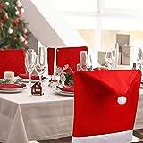 Dioxide Generic Christmas Theme Chair Back Cover Hood Coprisedia a Tema Fiocco di Neve e Pompon, Motivo Natalizio, 50 x 70 cm, 4 Pezzi, Feltro, Rosso
