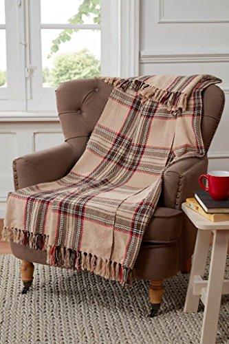 Tartan Manta diseño de Cuadros para sofá, Silla o Cama, de algodón y Beis Natural