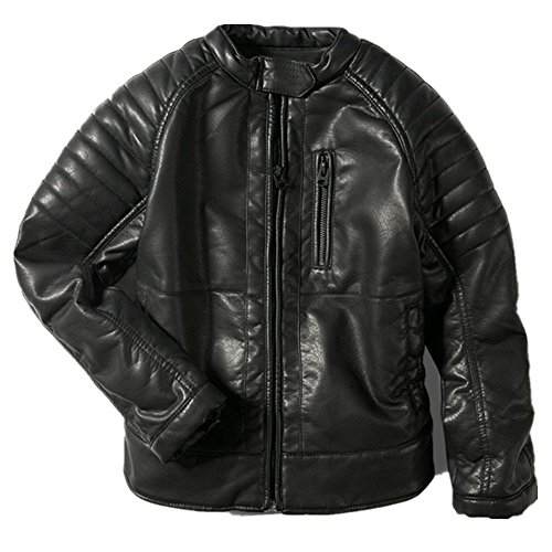LJYH Boys Faux Leather Jacket Children's Collar Motorcycle Leather Coat 11-12yrs Black