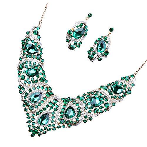Set Brautschmuck, Ohrringe und Halskette, Diamant-Imitat aus Glas grün
