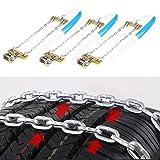 KIMISS 3 x Cadenas de acero de antideslizante de Neumático, Cadena del neumático de seguridad del coche en el Barro y Nieve para Automóvil, Carro, Camioneta SUV(M)
