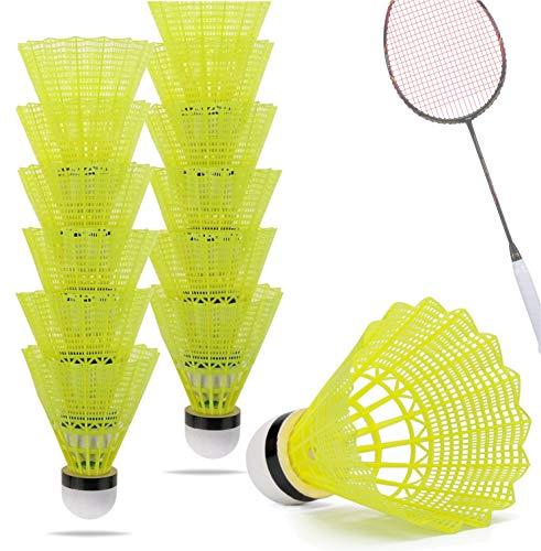 Volantes pelotas de bádminton amarillas para entrenamiento y competición Bádminton - bola de plumas / bolas volante para exteriores e interiores ⭐