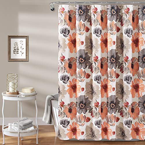 Lush Decor, Coral/Gray Leah Shower Curtain-Bathroom Flower Floral Large Blooms Fabric Print Design, x 72