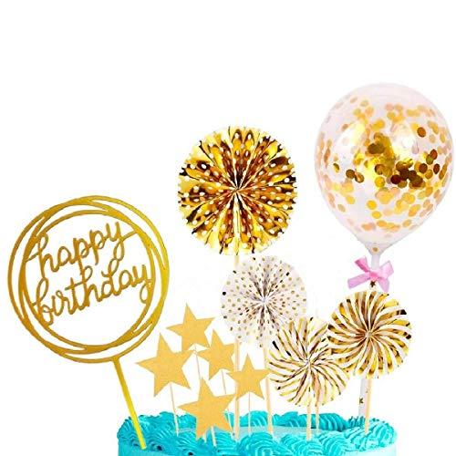 tarumedo Cake Topper Happy Birthday, Golden Tortendeko Geburtstag, Konfetti Luftballon Kuchendeko, Tortendeko Sterne, Tortenstecker, Tortenaufsatz, Kuchendekoration Geburtstag