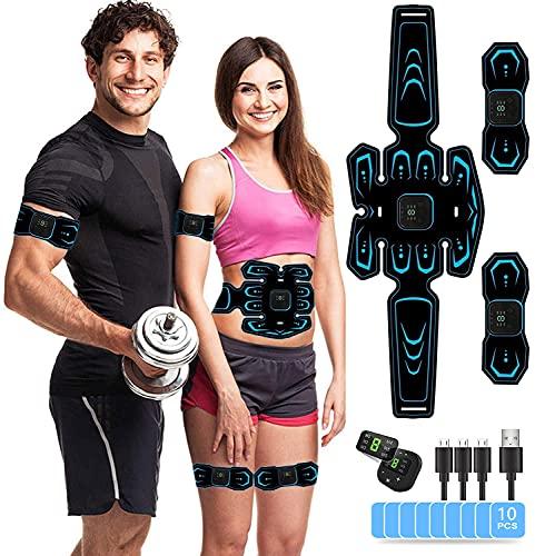 AILEDA EMS Trainingsgerät, Bauchmuskeltrainer, USB Wiederaufladbar Muskelstimulator bauchtrainermit 6 Modi & 9 Intensitäten, LTragbarer Muskelstimulator,für Bauch,Arm,Bein-Fitness Trainings Gang