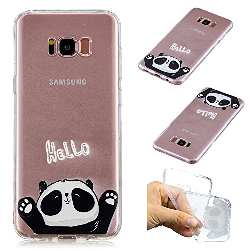 COZY HUT Custodia Samsung Galaxy S8 Plus, Cover Samsung Galaxy S8 Plus, Panda Trasparente con Disegni TPU Bumper con Protettiva Custodia Posteriore per Samsung Galaxy S8 Plus - Ciao Panda