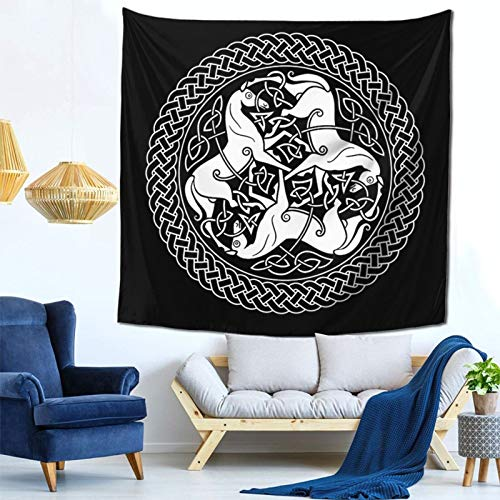 Pshhdgyhs Qinegnly Tapestry Wall-Mounted Home Decoration Celtic Epona Knot with Horses is Used for Mural Decoration in Bedroom, Living Room and Dormitory 59x59 inches