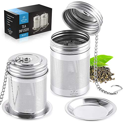 Zulay 2Pack Tea Ball Infuser  Stainless Steel Tea Infusers For Loose Tea With Chain Hook amp Saucer  Extra Fine Mesh Tea Strainer For Brew Tea Spices amp Seasonings