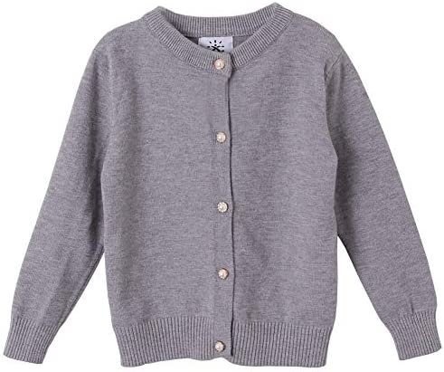SMILING PINKER Girls Cardigan Sweater School Uniforms Button Long Sleeve Knit Tops 6 7 Years product image