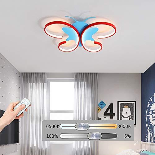 HIL LED plafondlamp modern cartoon vlinder ijzer met kinderen afstandsbediening blauw instelbare verlichting Studio Camera Bluetooth