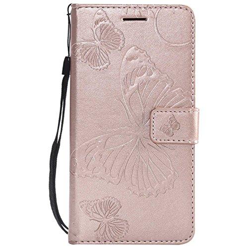 DENDICO Cover Huawei P8 Lite 2017, Pelle Portafoglio Custodia per Huawei P8 Lite 2017 Custodia a Libro con Funzione di appoggio e Porta Carte di cRossoito - Oro Rosa