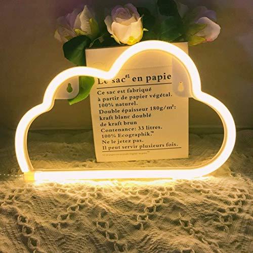 QiaoFei - Lampada al neon a forma di nuvola, da parete, decorazione per feste, nozze, per casa, camera dei bambini, soggiorno, bar, pub, hotel