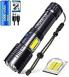 LED Linterna Recargable USB Linternas Alta Potencia Táctica Linterna Militar,7 Modos,Impermeable,LED y COB 2 en 1 XHP70 Linternas con Power Bank Función,para Camping,Ciclismo,Con Batería