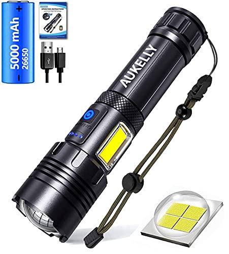 LED Linterna Recargable USB Linternas Alta Potencia Táctica Linterna Militar,7 Modos,Impermeable,LED y COB 2 en 1 XHP70 Linternas con Power Bank Función,para Camping,Ciclismo,Con 26650 Batería