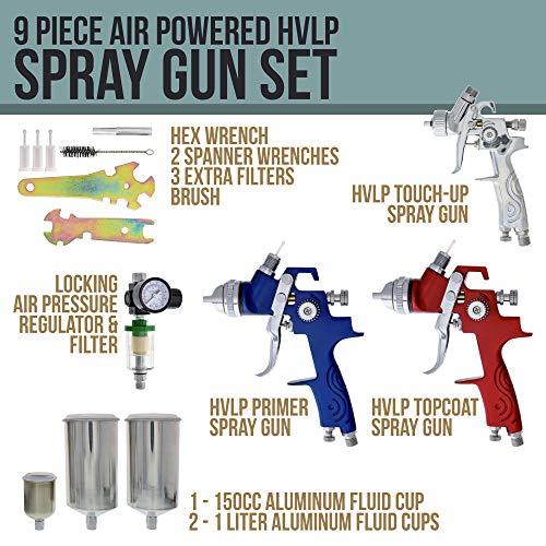 TCP Global Brand HVLP Spray Gun Set - 3 Sprayguns with Cups, Air Regulator