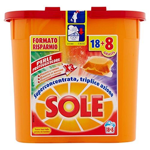 Sole Perle Proteggicolore, Detersivo per Lavatrice in Capsule Monodose, Capi Colorati, Triplice Azione, 78 Lavaggi