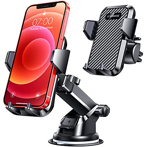 VANMASS Car Phone Holder,[Master Anti-Vibration]Phone Mount for Car,[Strong Suction]Universal Dashboard Windscreen Vent Handsfree Stand, Compatible with iPhone 12 11 SE Samsung Galaxy S21 A12,Black