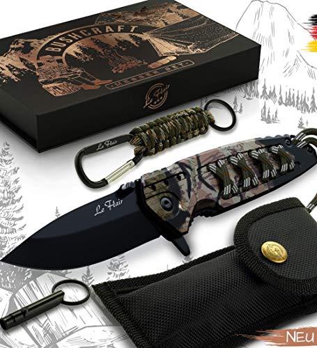 Le Flair® Bushcraft Messer - Outdoor Messer Taschenmesser inkl. Karabinerhaken + Signalpfeife - Klappmesser - Survivalmesser mit Korrosionsschutz – Einhandmesser mit 8,5cm langer Edelstahl Titanklinge