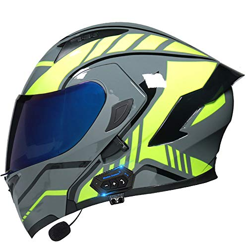 Casco Moto Bluetooth Modular, ECE Homologado Casco de Moto con Micrófono Integral Scooter para Mujer Hombre Adultos con Doble Visera