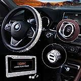 Bling Car Accessories Set, Bling Steering Wheel Cover for Women Universal Fit 15 Inch, Bling License Plate Frame for Women, Bling Car USB Charger(Fast Charging), Bling Car Decor Set 4 Pack