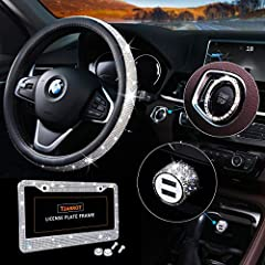 【What You Get】4 packs bling car decor crystal rhinestone accessories for women girls: 1* bling steering wheel cover + 1* bling license plate frame + 1* bling car usb charger + 1* bling ring for start button. 【Features of Steering Wheel Cover】● 15'' u...