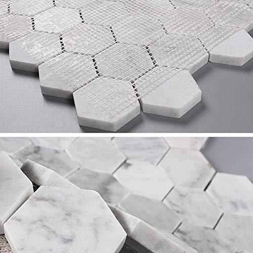 Diflart - Mosaico italiano de mármol blanco Carrara con 5 hojas de papel de lija (2 pulgadas hexagonal)
