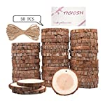 Wood Slices TICIOSH Natural Wood Slices 2.4-2.8 inches 50 Pcs Drilled Hole Unfinished Log Wooden Circles for DIY Crafts Wedding Decorations Christmas Ornaments