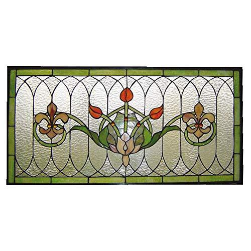 Lumilamp 5LL-5305 Fenster Tiffany Stil Buntes Glas Fleur de Lis Grün/Rot/Transparent 82 * 41 cm