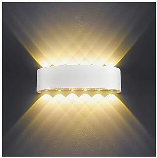 Applique Murale Interieur LED 12W Blanc Lampe Murale Moderne, IP65 Étanche appliques murales exterieures en Aluminium, Up ...