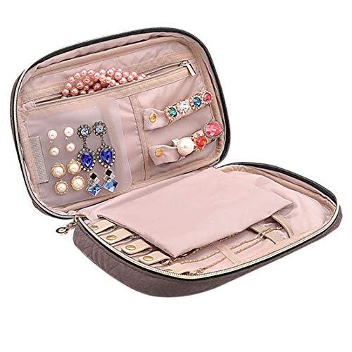 Suading Bolsa de almacenamiento de joyería portátil de gran capacidad collar pendientes bolsa de joyería cosméticos pulsera reloj bolsa B