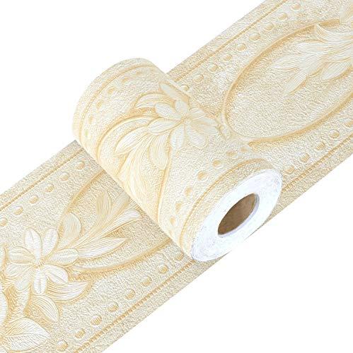 Yoillione - Carta da parati adesiva con bordo adesivo, motivo floreale, impermeabile, bordi per pareti da cucina, colore giallo, rimovibile in rilievo