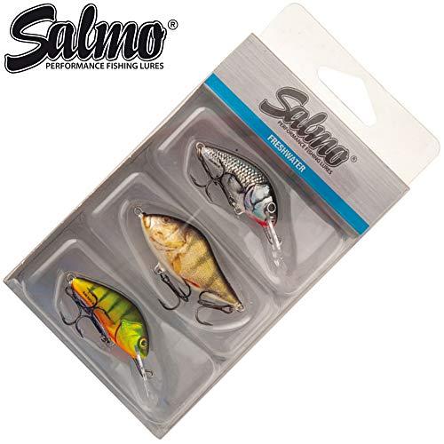 Salmo Perch Pack - 3 Wobbler zum Spinnfischen auf Barsche, Barschwobbler zum Spinnangeln, Barschköder zum Barschangeln, Kunstköder