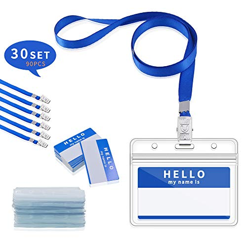 Gimars Porta ID Badge da Collo Orizzontale Impermeabile e Trasparente con Cordino e PortaPass Carte per Uso da Lavoratori Impiegati Studenti Conferenza 30 set Blu