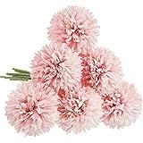 CQURE Unechte Blumen,Künstliche Blumen Deko Blumen Gefälschte Blumen Künstliche Hortensien kunstblumen Braut Hochzeitsblumenstrauß für Haus Garten Blumenschmuck 6 Köpfe(Hellrosa)