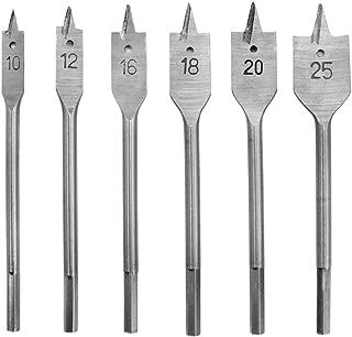 HZZT-6B 6 Pcs Wood Flat Drill Bits Set, Wood Boring Spade Flat Head Metric Drill Bit Set Woodworking Hole Cutters Tools