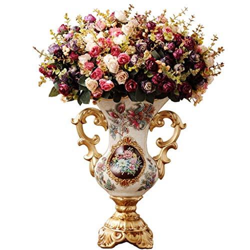 ZYING Florero de Resina Estilo Europeo- decoración Florero Europeo Decoración del hogar Comedor Sala de Estar TV Gabinete Flor