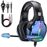 Gaming Headset for PS4 PC with 7.1 Surround Sound 90 Degree Rotation Soft Earmuffs Crystal Clear Mic 4 Mode RGB Lights Compatible with PS5 Xbox One