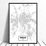 Cuadro Impresiones En Lienzo,Sevilla Negro Blanco Personalizado Mundo Ciudad Mapa Imágenes Impresión En Lienzo Simplicidad Moderna Abstracto Arte De Pared Cartel Nórdico Decoración Del Hogar Lienz