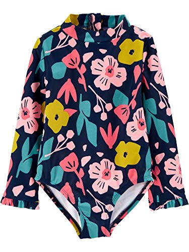 Simple Joys by Carter's Girls' 1-Piece Assorted Rashguard Sets, Floral/Navy, 2T