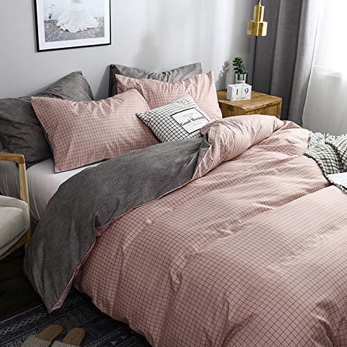 Lanqinglv Bettwäsche 135x200 cm 2 Teilig Kariert Rosa Wendebettwäsche Mädchen Geometrisch Bettdeckenbezüge Bettbezüg mit Reißverschluss und Kissenbezug 80x80cm (YG,135)