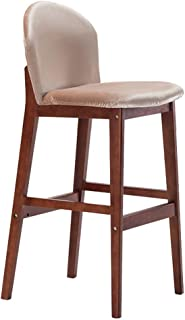 Barstool Kitchen Breakfast Chair Dining Chair Wooden Retro Style Bar Stool High Stool Front Desk Chair Sitting Height 75cm Beige (Color : #2)